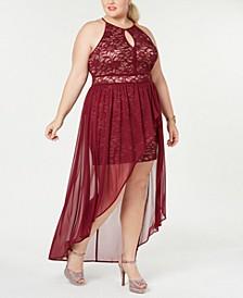 Plus Size Chiffon-Overlay Lace Dress