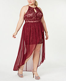 Morgan & Company Plus Size Chiffon-Overlay Lace Dress