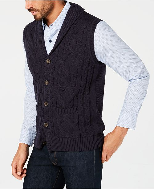 Tasso Elba Men's Shawl Collar Cable Knit Sweater Vest