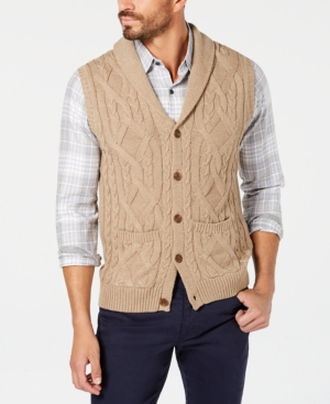 Men's Vintage Vests, Sweater Vests Tasso Elba Mens Shawl Collar Cable Knit Sweater Vest Created for Macys $22.93 AT vintagedancer.com