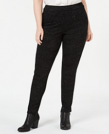 Plus Size Tonal-Print Seam-Front Leggings, Created for Macy's