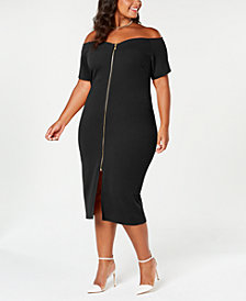 Planet Gold Trendy Plus Size Off-The-Shoulder Bodycon Dress
