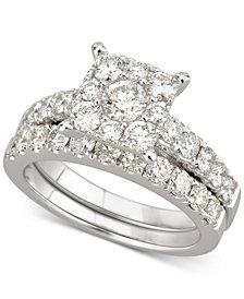 Diamond Halo Bridal Set (2 ct. t.w.) in 14k White Gold