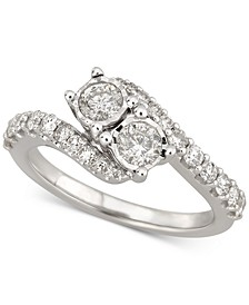 Diamond Two-Stone Swirl Engagement Ring (1 ct. t.w.) in 14k White Gold