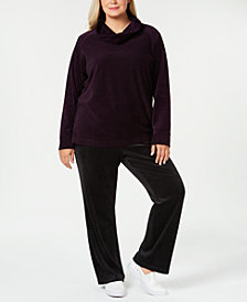 Karen Scott Plus-Size Velour Sweater & Pull-On Pants, Created for Macy's