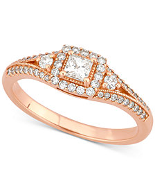 Diamond Princess Engagement Ring (1/2 ct. t.w.) in 14k Rose Gold