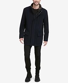 Men's Plush Coat with Faux-Fur Trim