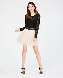 Teeze Me Juniors' 2-Pc. Lace & Tulle Dress