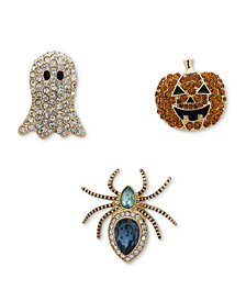 Anne Klein Gold-Tone 3-Pc. Set Multicolor Crystal Spooky Pins, Created for Macy's