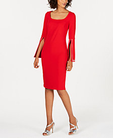 Calvin Klein Blingy Bell Sleeve Sheath Dress