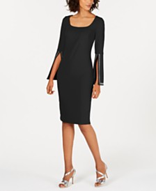 Calvin Klein Blingy Bell-Sleeve Sheath Dress
