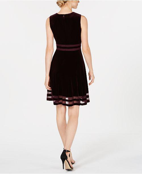 e8d0cb9bc8e Calvin Klein Petite Velvet Illusion Fit   Flare Dress   Reviews ...