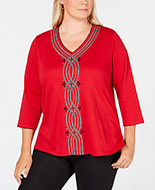 Alfred Dunner Plus Size Sutton Place Embellished Top