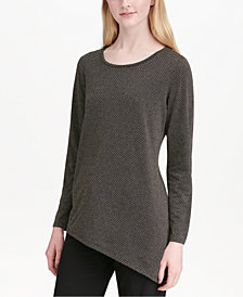 Calvin Klein Textured Asymmetrical-Hem Top