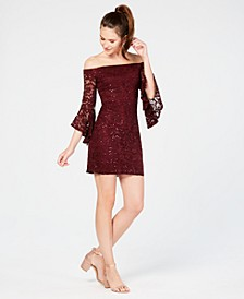 Juniors' Off-The-Shoulder Sequined Lace Dress