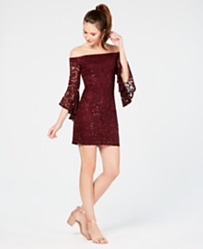 Teeze Me Juniors' Off-The-Shoulder Sequined Lace Dress
