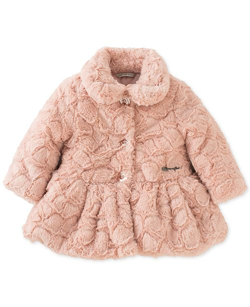 50a95ae31 Calvin Klein Baby Girls Crackled Faux-Fur Coat & Reviews - Coats ...