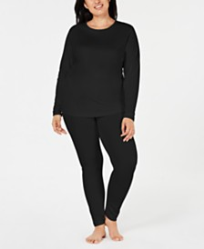 Cuddl Duds Plus Size ClimateSmart® Crew-Neck Top & Leggings