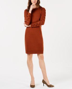 LOVE SCARLETT Petite Lattice-Sleeve Sweater Dress in Brown
