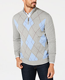 Club Room Men's Quarter-Zip Pima Argyle Sweater, Created for Macy's