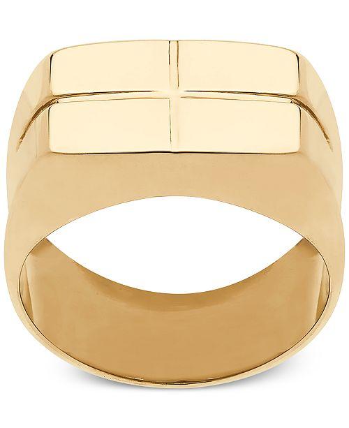 Macy's Square Cross Design Ring in 10k Gold