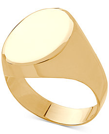 Polished Oval Signet Ring in 10k Gold