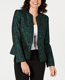 Kasper One-Button Jacquard Jacket