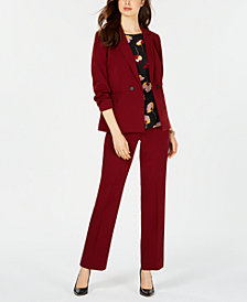 Nine West Double-Breasted Blazer, Printed Blouse & Straight-Leg Pants