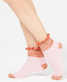 Free People Cedar Heathered Ruffle-Trim Ankle Socks