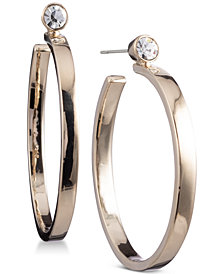 "DKNY 1 3/4"" Crystal Stud Hoop Earrings, Created for Macy's"