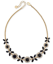 "Charter Club Gold-Tone Crystal & Stone Collar Necklace, 17"" + 2"" extender, Created for Macy's"
