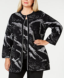 Kasper Plus Size Metallic Sweater Topper