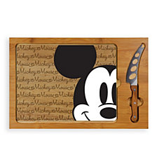 Picnic Time Mickey Mouse Button Eye Icon Glass Top Cutting Board & Knife Set