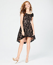 Morgan & Company Juniors' High-Low Lace Dress