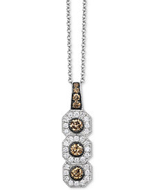 "Le Vian Chocolatier® Diamond Triple Halo 18"" Pendant Necklace (1/2 ct. t.w.) in 14k White Gold"