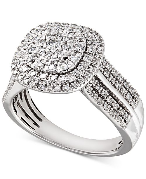 c67911fce7a t.w.) in 14k  Macy s Diamond Cluster Composite Engagement Ring (3 4 ct.