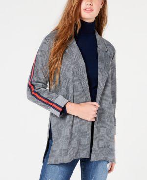 ALMOST FAMOUS Juniors' Plaid Stripe Blazer Jacket in Grey/Black