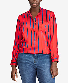 Lauren Ralph Lauren Plus Size Lightweight Striped Shirt