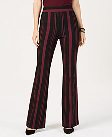 I.N.C. Striped Ponté-Knit Bootcut Pants, Created for Macy's