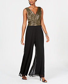 Connected Metallic-Crinkle Wrap Jumpsuit