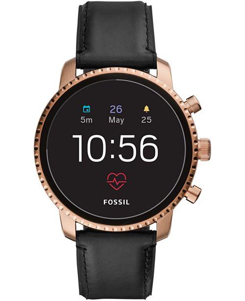 5097d2168 ... Fossil New Q Men s Explorist Gen 4 HR Black Leather Strap Touchscreen Smart  Watch ...