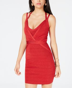 Mirage Metallic Strappy Body-Con Dress, Sultry Red Multi