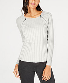 I.N.C. Zipper-Detail Raglan Sleeve Sweater, Created for Macy's