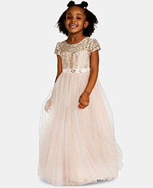 Little Girls Embroidered-Bodice Maxi Dress