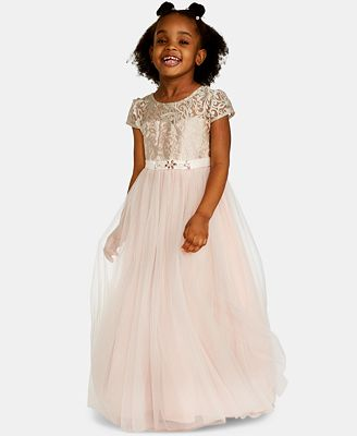 Rare Editions Little Girls Embroidered Bodice Maxi Dress Dresses