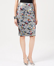 Thalia Sodi Metallic-Floral Plaid Pencil Skirt, Created for Macy's