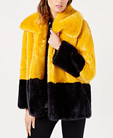 French Connection Sebille Colorblocked Faux-Fur Coat