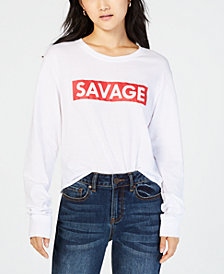 Love Tribe Juniors' Long-Sleeve Savage-Graphic T-shirt