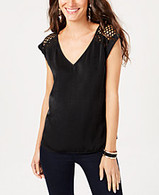Thalia Sodi Lace-Shoulder Top, Created for Macy's