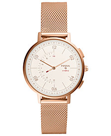 FOSSIL Q Women's Harper Rose Gold-Tone Stainless Steel Mesh Bracelet Hybrid Smart Watch 37mm